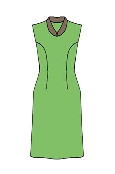 Vestido con pinza costadillo a la sisa