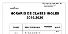 horario inglés 2019-2020