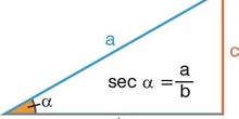 Secante en un triángulo rectángulo