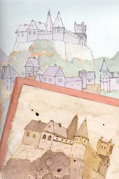 La cabeza de los reyes: Dibujo del castillo