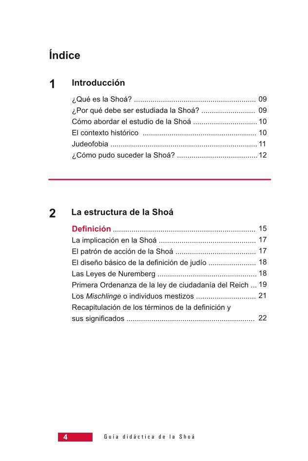 Página 4 de la Guía Didáctica de la Shoá