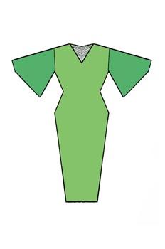 Vestido de línea tubo y manga plana
