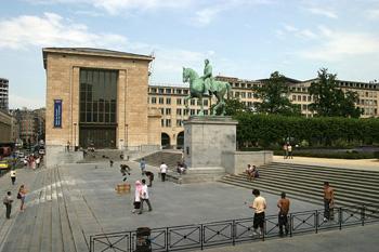 Vista del Palacio de Congresos, Bruselas, Bélgica