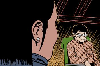Los tres amigos: El escritor observa a la chica