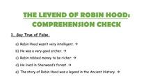 ROBIN HOOD. COMPREHENSION CHECK