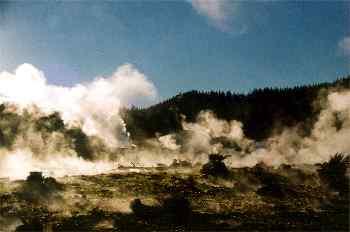 Hells Gate. Zona de geisers a 18 km de Rotorua, Nueva Zelanda
