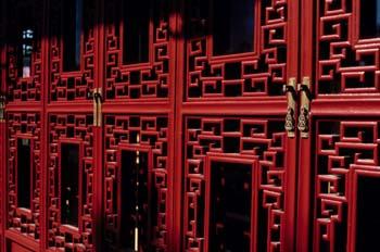 Detalle de una puerta del Chinese Garden del Jardín Botánico de