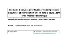 Exemples d'activités pour favoriser les compétences discursives et de médiation en SVT dans le cours 1º ESO sur La Méthode Scientifique