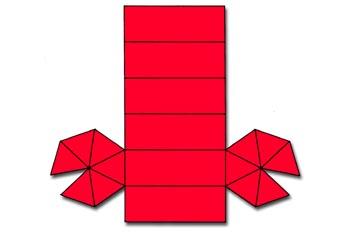 Desarrollo de una combinación de prisma y dipirámide hexagonal