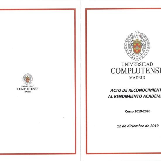 Reconocimiento Académico UCM a nuestro alumno Alex Nita  y al Caustro de profesores del IES Francisco de Quevedo 6