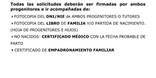 Documentación solicitada por SAE Usera 0-3 años