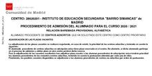 Listado provisional por orden alfabético y por puntos Admisión Resto cursos Ies Simancas.