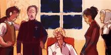 El barbero, el sacristán, el estudiante, Leonarda y Cristina