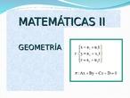 Matemáticas II GEOMETRÍA