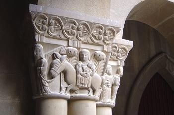 Capitel con escena de Jesús niño San José y María, Huesca