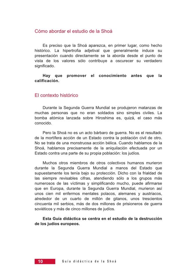 Página 10 de la Guía Didáctica de la Shoá