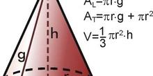 área y volumen de un cono