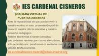 Jornadas virtuales de puertas abiertas: IES Cardenal Cisneros