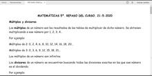 MATEMÁTICAS 5º. REPASO SOBRE LA DIVISIBILIDAD