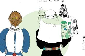 Cap. IX. Cervantes leyendo unos papeles en los que se representa
