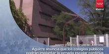 Aguirre anuncia que los colegios públicos podrán implantar la jornada escolar continua