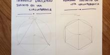 Construcción de un triángulo y un hexágono inscritos en una circunferencia