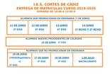 Fechas de Matriculación para el curso 2019-20