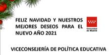 Felicitación navideña 2020. Viceconsejería de Politica Educativa. Consejería de Educación y Juventud.