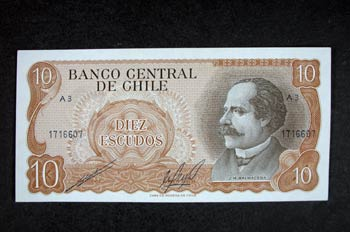 Anverso de un billete de diez escudos chilenos