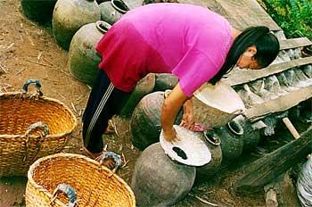 Joven laosiana preparando vino de arroz, Laos