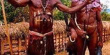 Jefes de tribu con plumas, Irian Jaya, Indonesia