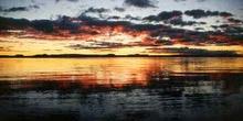 Lago Taupo al atardecer, Nueva Zelanda