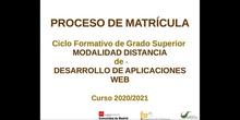 Proceso de matrícula educación a distancia Desarrollo de Aplicaciones Web (DAW)