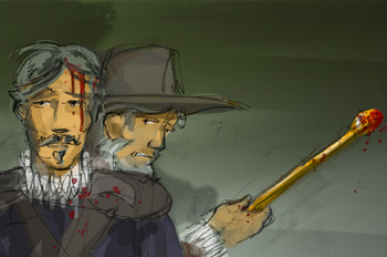 El Comendador golpea a Esteban con la vara