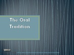 Oral tradition literature