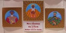 Inusual decoración navideña con los Reyes Magos, Perth, Australi