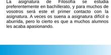 PRESENTACIÓN DE LA ASIGNATURA DE FILOSOFÍA 1º BACHILLERATO