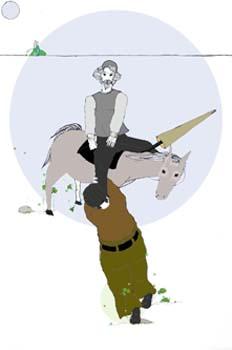 Cap. XX. Sancho asustado se abraza a la pierna de Don Quijote