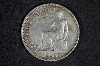 Reverso una peseta de la Segunda República Española, 1934