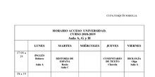 Horarios Acceso Universidad 2018-19