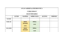 Horarios Aulas Abiertas Informática 2018-19