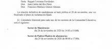 2020_11_19_Elecciones Consejo Escolar_Listas Provisionales Candidatos_CEIP FDLR_Las Rozas