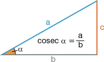 Cosecante en un triángulo rectángulo