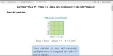 MATEMÁTICAS 5º. ÁREA DEL CUADRADO Y DEL RECTÁNGULO