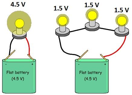 Series circuit sharing voltage