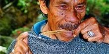Músico haciendo sonar un arpa de boca, Sulawesi, Indonesia