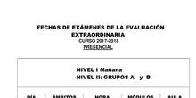 Exámenes Evaluación Extraordinaria Presencial  2017/18