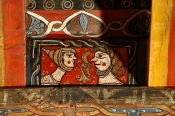 Detalle de pintura en alfarje. Caras enfrentadas, Huesca