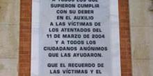 Detalle de una placa de agradecimiento