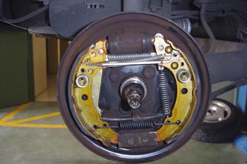 Conjunto de freno de tambor. Vista interior